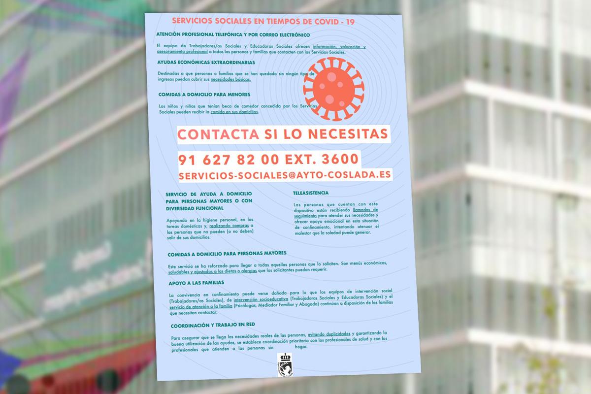 Los Servicios Sociales del Ayuntamiento de Coslada establecen ayudas económicas, asistenciales y de apoyo familiar destinadas a paliar necesidades de vulnerabilidad producidas por la pandemia del COVID-19