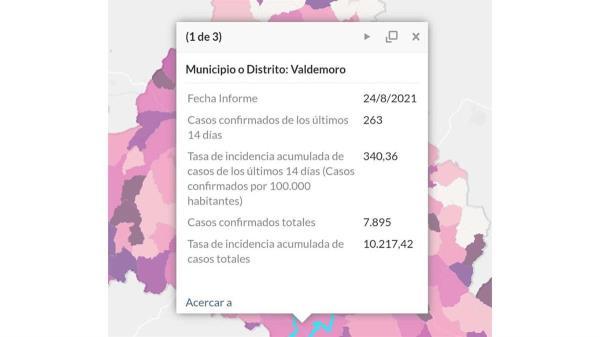 Registró en los últimos 14 días una tasa de incidencia acumulada de COVID-19 de 340,4 con 263 casos infectados confirmados