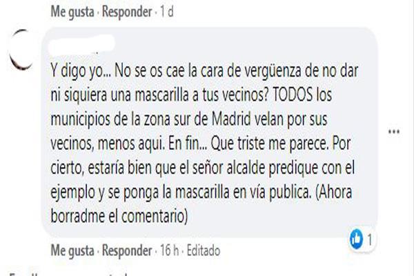 El Ayuntamiento de Humanes de Madrid no repartirá mascarillas a la ciudadanía