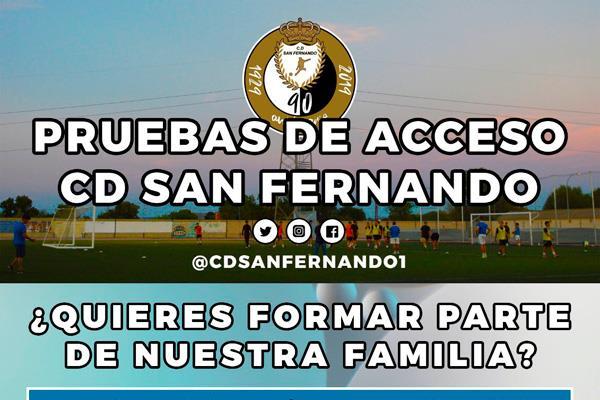 El C.D. San Fernando abre las inscripciones para las pruebas de acceso