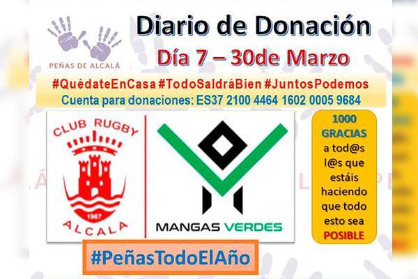 El Club de Rugby Mangas Verdes Alcalá se suma a la recaudación que se destinará a las residencias de mayores y al Hospital Príncipe de Asturias