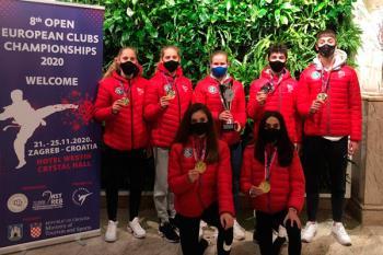 El club sansero brilló en Croacia, sumando cinco oros y una plata