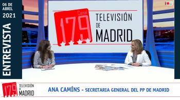 La secretaria general del PP de Madrid, Ana Camíns, repasa en Televisión de Madrid la actualidad electoral
