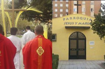 El alcalde de Madrid, José Luis Martínez-Almeida, y el concejal de la Latina, Alberto Serrano, visitaron ayer la iglesia de Jesús y María, una de las encargadas en repartir estos alimentos
