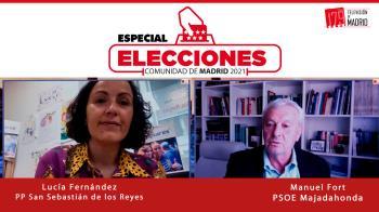 Manuel Fort (PSOE) y Lucía Fernández (PP) comparten en Televisión de Madrid defiende la candidatura de sus partidos en Televisión de Madrid