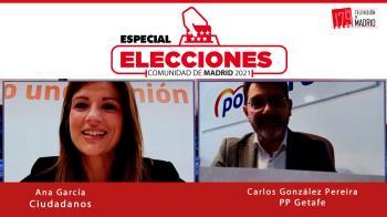 El portavoz del PP en Getafe, Carlos González Pereira, y la portavoz adjunta de Ciudadanos en la Asamblea, Ana García, piden el voto para sus candidatos