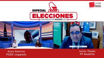 Goyo Ramírez (PSOE) y Javier Úbeda (PP) comparten en Televisión de Madrid cómo están encarando la campaña electoral