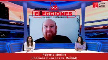 Roberto Murillo (Podemos) comparte en Televisión de Madrid cómo están encarando la campaña electoral