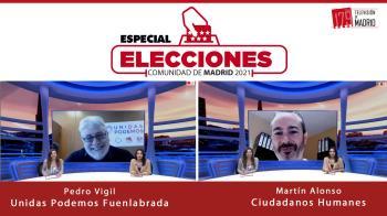 Pedro Vigil, portavoz de Unidas Podemos en Fuenlabrada, y Martín Alonso, portavoz de Ciudadanos en Humanes, hablan en Televisión de Madrid