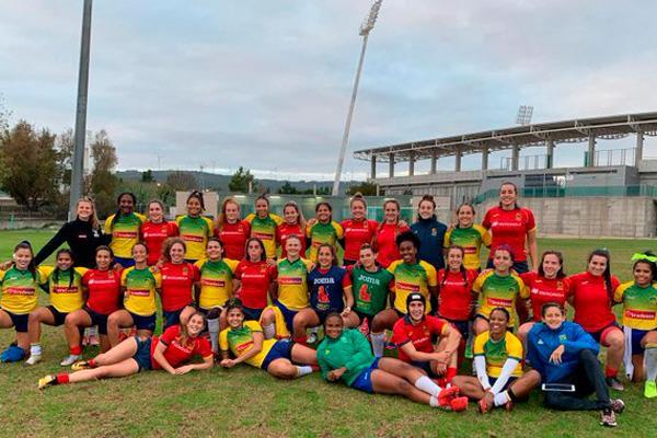 Ingrid Algar y Blanca Die, con la Selección Española de Rugby 7 femenina