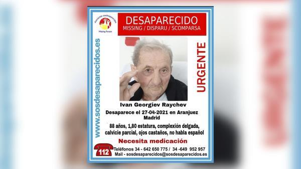 Se sigue buscando a Ivan, un anciano de Aranjuez que desapareció hace 2 meses