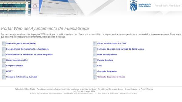 La página web de Ayuntamiento suspendida temporalmente