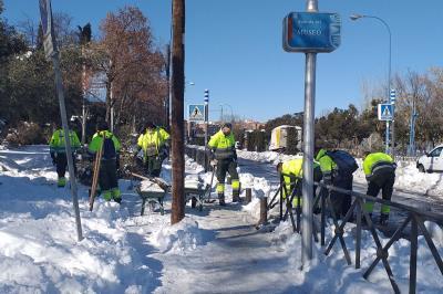 Lee toda la noticia 'La UME ayuda a eliminar la nieve en Leganés'