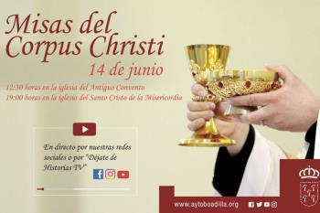 La misa de la mañana, a las 12:30h, en la iglesia del Antiguo Convento y la misa de la tarde, a las 19:00h, será en la iglesia del Santo Cristo de la Misericordia
