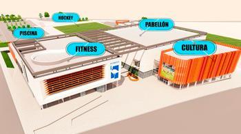 Contará  con tres edificios, dos de ellos deportivos y el tercero cultural