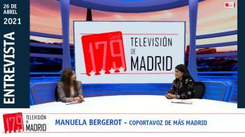 La número 3 en la candidatura de Más Madrid, Manuela Bergerot, presenta el plan de emergencia social de su partido en Televisión de Madrid