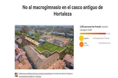 Lee toda la noticia 'Los vecinos de Hortaleza reúnen más de 2.000 firmas contra el macrogimnasio del casco antiguo'