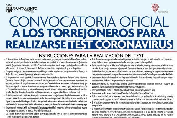 Mañana empiezan los test de coronavirus en Torrejón