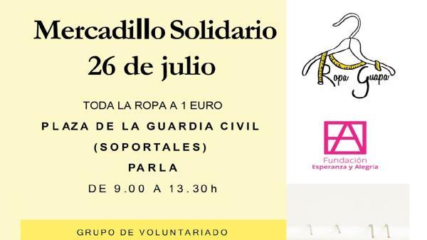 Hoy, 26 de julio, se está celebrando en Parla un mercadillo solidario cuyos beneficios estarán destinados a una gran causa