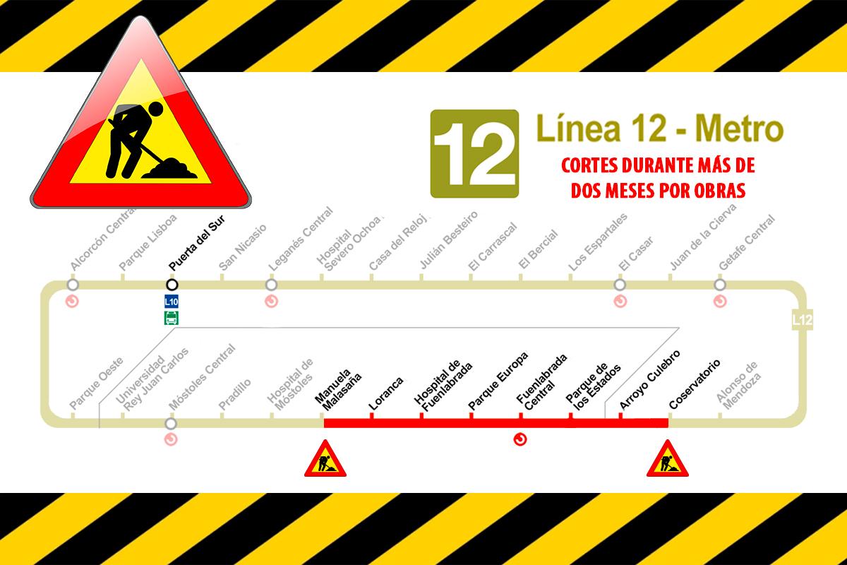 Las actuaciones en la línea de 12 (Metrosur) afectarán también a la estación Arroyo Culebro y durarán más de dos meses