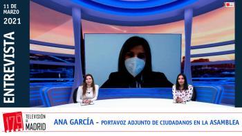 """La portavoz adjunta de la formación naranja en la Asamblea de Madrid, Ana García, carga contra la actitud """"irresponsable"""" de Ayuso"""