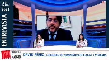 El consejero de Administración Local y Vivienda, David Pérez, habla para Televisión de Madrid tras la convocatoria de elecciones