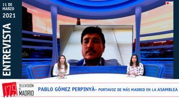 El actual portavoz de Más Madrid, Pablo Gómez Perpinyà, valora el adelanto electoral en Televisión de Madrid