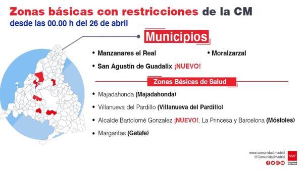 Municipios como Manzanares del Real o Moralzarzal quedan confinadas