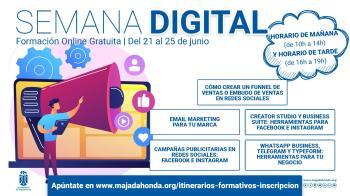 Del 21 al 25 de junio vuelve la formación online gratuita municipal con la 'Semana Digital'