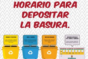 Si vas a tirar plásticos o cartón, o resto de residuos, fijate en el nuevo horario