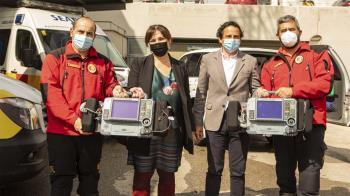 La alcaldesa de Pozuelo, Susana Pérez Quislant, ha presentado estos dispositivos instalados ya en tres ambulancias