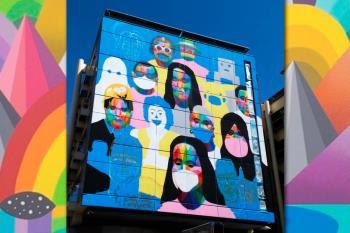 'Where is Okuda?' es el título del impresionante mural que luce en la fachada oeste del Ayuntamiento
