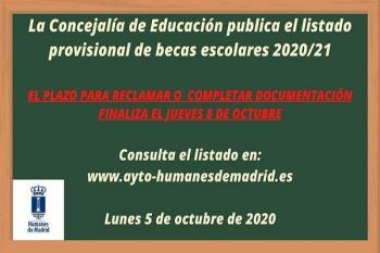 La Concejalía de Educación publica el listado provisional y deja de plazo hasta el 8 de octubre para reclamar