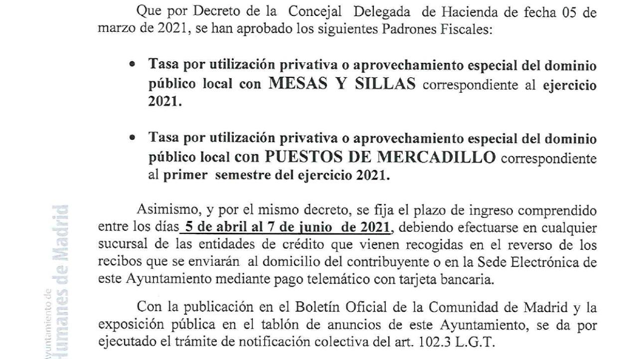 El plazo para el pago de las tasas es del 5 de abril al 7 de junio de 2021