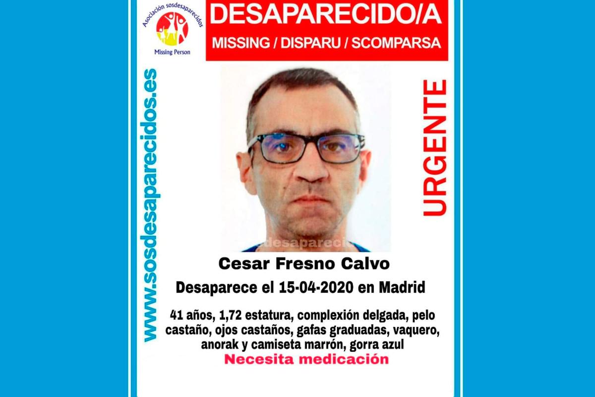 Según informa SOS Desaparecidos, Cesar desapareció el pasado 15 de abril y necesita medicación