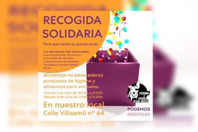 Lee toda la noticia 'Segunda recogida solidaria de alimentos y productos de higiene'