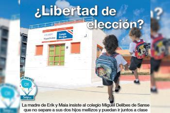 El colegio público Miguel Delibes ha separado en diferentes clases a los dos hijos mellizos de Maite y su criterio prima sobre el interés de los padres