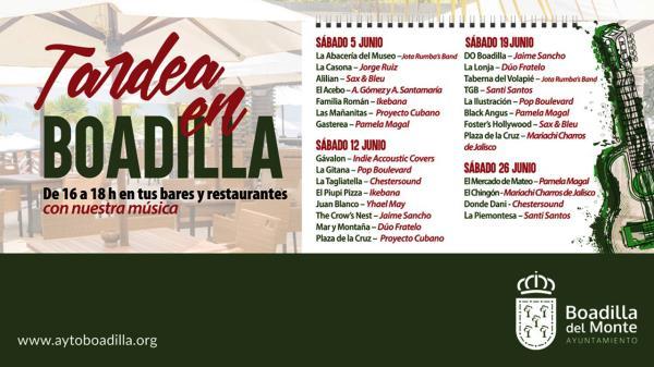 Tardea en Boadilla: música en directo en bares y restaurantes los sábados de junio
