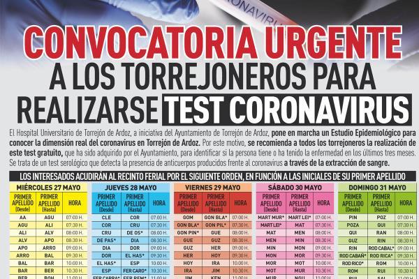 Test masivos de Covid-19 a todo Torrejón