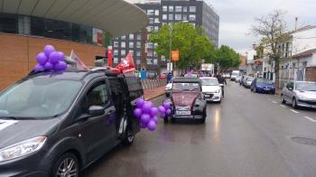 Una caravana con 30 vehículos realizó varias visitas a municipios más aparatados de la región