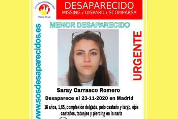 SOS Desaparecidos alerta sobre una menor desaparecida de 16 años de edad
